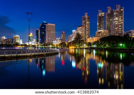 Business buildings in Bangkok seen from Benjakiti park, night Scene, Thailand