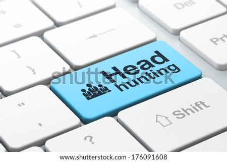 Business business concept: computer keyboard with Business Team icon and word Head Hunting, selected focus on enter button, 3d render - stock photo