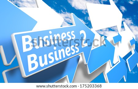 Business 2 Business 3d render concept with blue and white arrows flying in a blue sky with clouds - stock photo