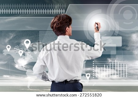 Business. Business woman pushing virtual button in web interface with her finger over blue sky - stock photo