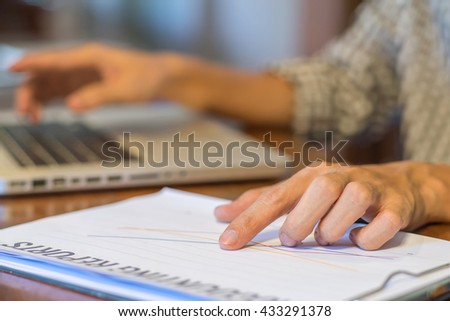 Business, businessman analyzing investment charts. Accounting, Business concept