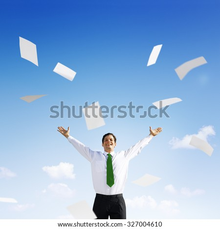 Business Businessman Documents Throwing Happiness Concept - stock photo