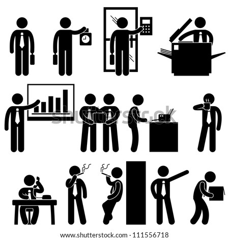 Business Businessman Employee Worker Office Colleague Workplace Working Icon Symbol Sign Pictogram - stock photo