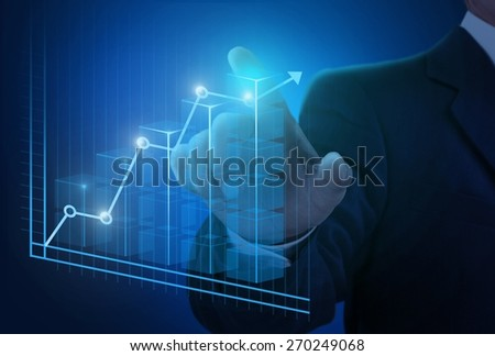 Business. Businessman hand working with new modern computer and business strategy as concept - stock photo