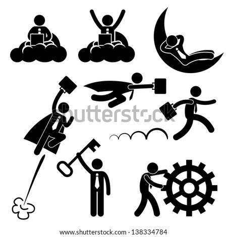 Business Businessman Working Concept Successful Relaxing Happy Stick Figure Pictogram Icon - stock photo
