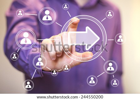 Business button arrow icon connection web communication - stock photo