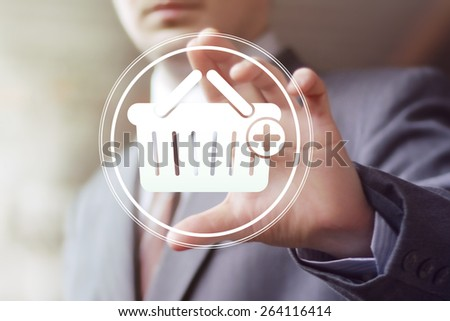 Business button basket trolley shopping icon web - stock photo