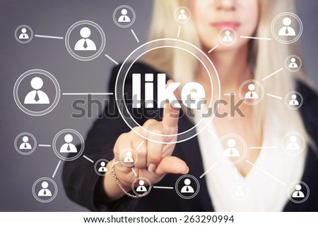 Business button like virtual icon - stock photo