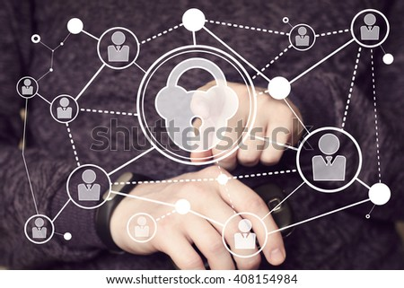 Business button lock security web virtual sign - stock photo