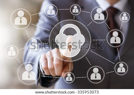 Business button lock web security virtual sign