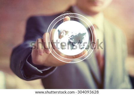 Business button map connection signal sign - stock photo
