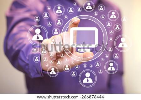 Business button virtual media connection computer - stock photo