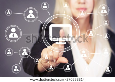 Business button web media connection computer - stock photo