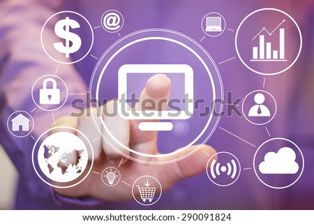 Business button web media connection computer virtual sign - stock photo