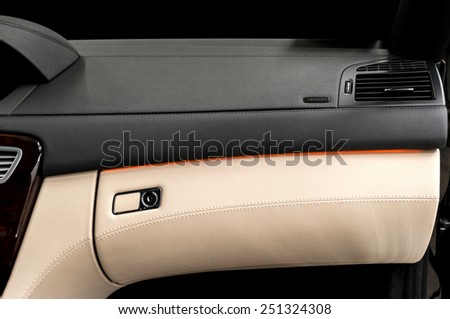 Business car airbag panel and air conditioning system. - stock photo