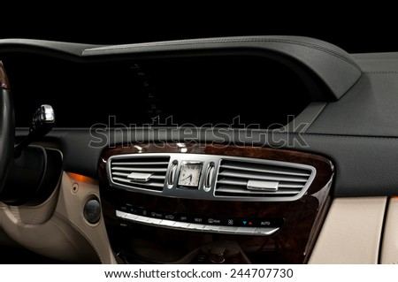 Business car dashboard interior. Horizontal photo. - stock photo
