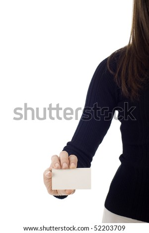 Business card closeup - businesswoman in black suit holding blank empty sign isolated over a white background