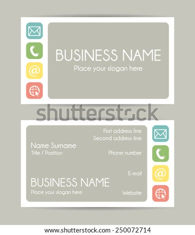 Business card. Flat design. Front and back. Set VI  - stock photo