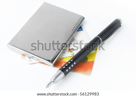 business card holder case with pen - stock photo