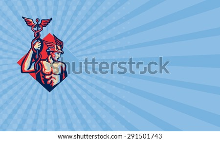 Business card illustration of Roman god Mercury wearing winged hat and holding caduceus a herald's staff with two entwined snakes looking to side set inside circle done in retro style.