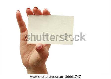 business card in a woman hand