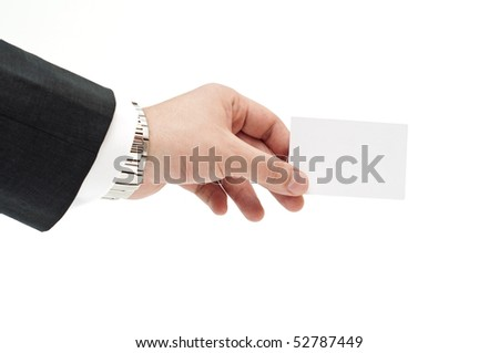 Business card in businessman's hand