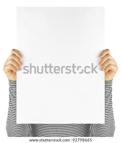 business card isolated in a hand on the white backgrounds - stock photo