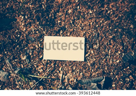 Business card on a sawdust - stock photo