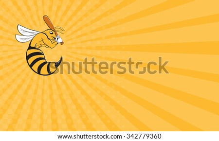 Business card showing Cartoon style illustration of a kiiller bee baseball player holding bat batting viewed from the side set on isolated background.  - stock photo