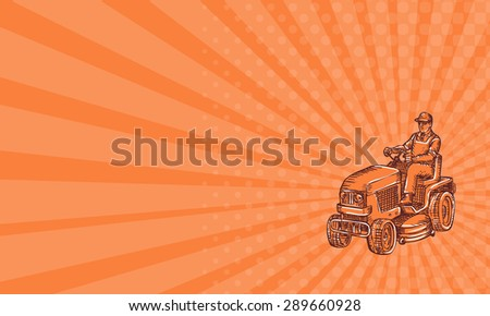 Business card showing etching engraving handmade style illustration of a gardener riding ride-on mower mowing set on isolated orange background.  - stock photo