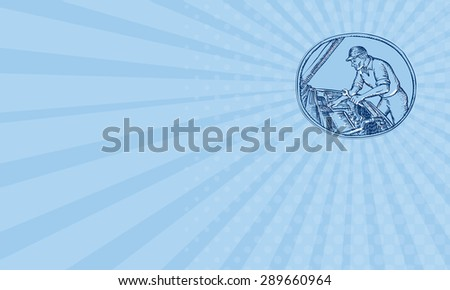 Business card showing Etching engraving handmade style illustration of an auto mechanic repairing automobile car vehicle viewed from the side set inside oval.