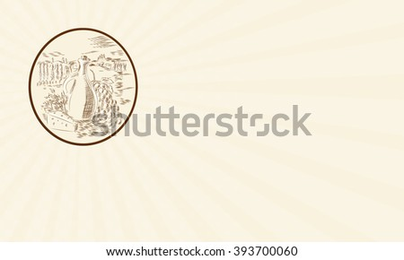 Business card showing Etching engraving handmade style illustration of an olive oil jar with cheese and grape bunch set against a Tuscan countryside inside circle shape. - stock photo