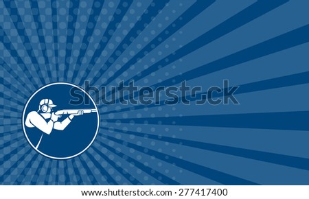 Business card showing icon illustration of a man with shotgun shooting aiming in trap shooting sport viewed from side set inside circle on isolated background done in retro style. - stock photo