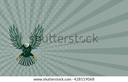 Business card showing illustration of a bald eagle with spread wings swooping viewed from front set on isolated white background done in retro style.  - stock photo