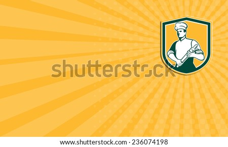 Business card showing illustration of a chef cook baker holding rolling pin looking to the side set inside shield crest done in retro style. - stock photo
