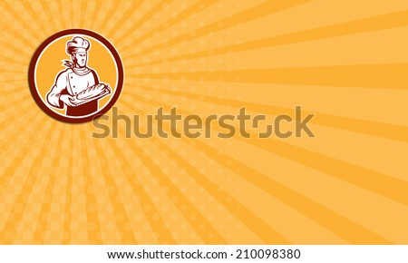 Business card showing illustration of a chef, cook or baker holding bread set inside circle on isolated background done in retro woodcut style.  - stock photo