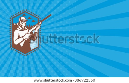 Business card showing illustration of a duck hunter shooter with shotgun rifle with geese flying and mountains in background done in retro style. - stock photo