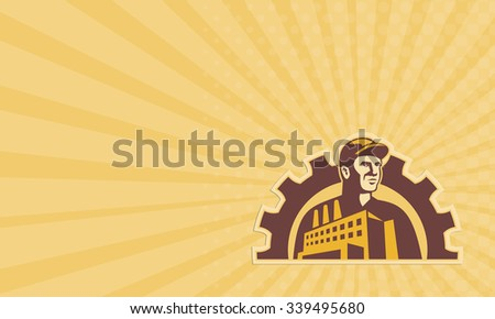 Business card showing illustration of a factory worker with factory building and mechanical gear cog in background done in retro style. - stock photo