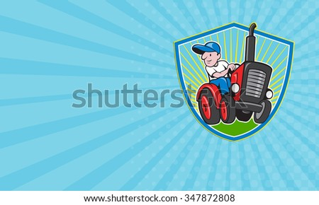 Business card showing illustration of a farmer worker driving a vintage tractor set inside shield on isolated background done in cartoon style. - stock photo