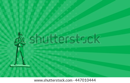 Business card showing illustration of a green plastic toy builder construction worker standing wearing hard hat holding hammer arms crossed viewed from front set on done in retro style.  - stock photo