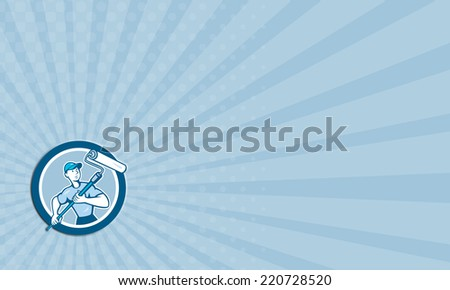 Business card showing illustration of a house painter handyman holding paint roller set inside circle on isolated background done in cartoon style. - stock photo