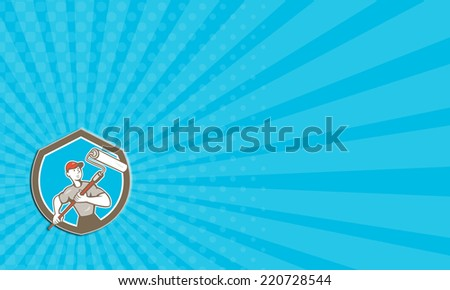 Business card showing illustration of a house painter handyman holding paint roller set inside shield crest on isolated background done in cartoon style. - stock photo