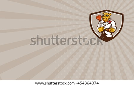 Business card showing illustration of a leopard plumber holding wrench and plunger viewed from front  set inside shield crest on isolated on background done in cartoon style.  - stock photo