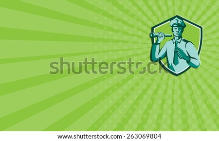 Business card showing illustration of a policeman police officer holding torch flashlight pointing facing front  set inside shield crest on isolated background done in retro style. - stock photo