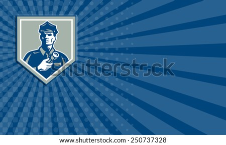 Business card showing illustration of a policeman security guard police officer holding flashlight torch set inside shield crest on isolated background done in retro style. - stock photo