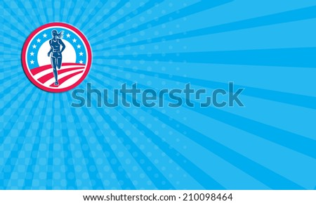 Business card showing illustration of an american marathon triathlete runner running winning finishing race set inside circle with stars and stripes in the background done in retro style. - stock photo