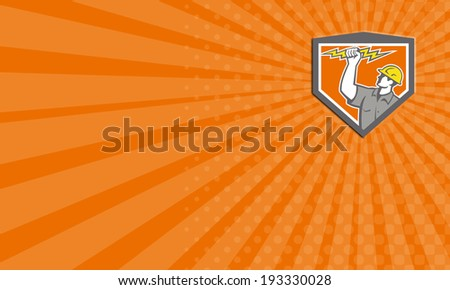 Business card showing illustration of an electrician construction worker wield holding a lightning bolt set inside shield crest done in retro style on isolated white background. - stock photo