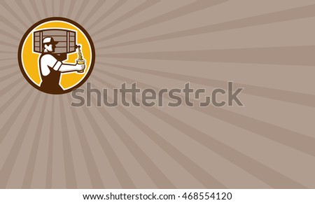 Business card showing illustration of bartender carrying keg on shoulder pouring beer from keg viewed from the side set inside circle done in retro style.