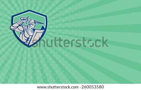 Business card showing illustration of crusader knight in full armor with shield brandishing wielding a sword set inside shield crest shape on isolated background done in retro style. - stock photo