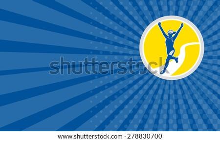 Business card showing illustration of marathon triathlete runner running arms raised winning finishing race set inside circle on isolated background done in retro style. - stock photo